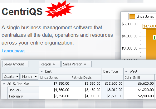 A single business management software that centralizes all the data, operations and resources across your entire organization.