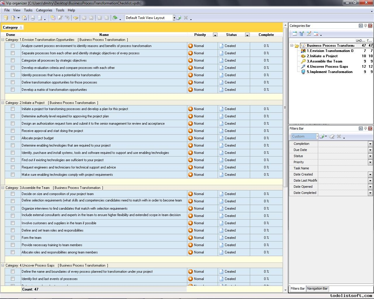 Process management templates business process transformation checklistzip 4 kb accmission Gallery