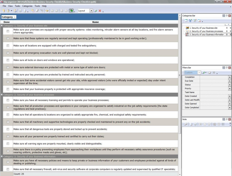 cctv checklist template - business security checklist to do list organizer