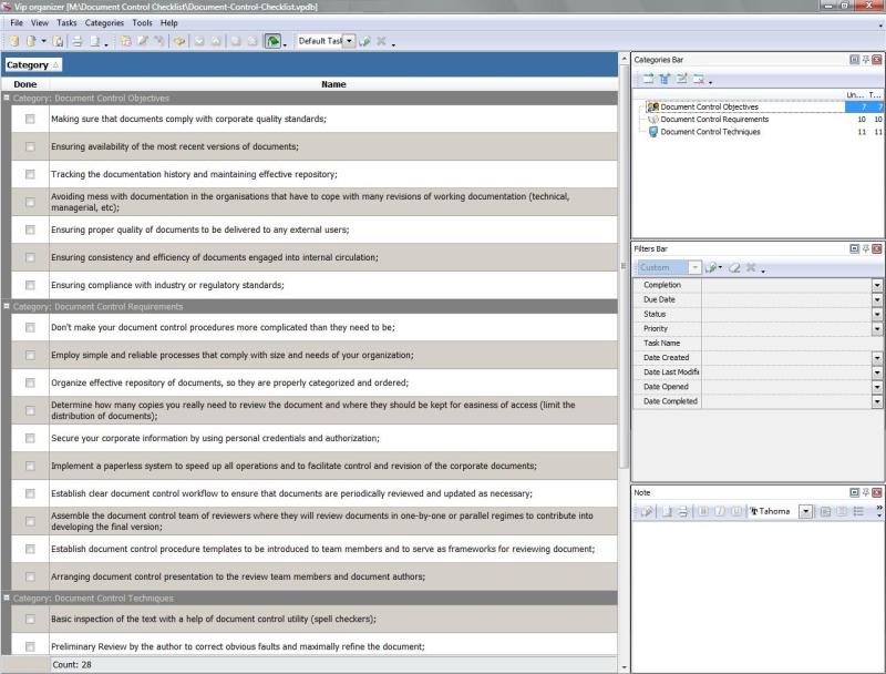 Document Control Checklist - To Do List, Organizer, Checklist, PIM ...