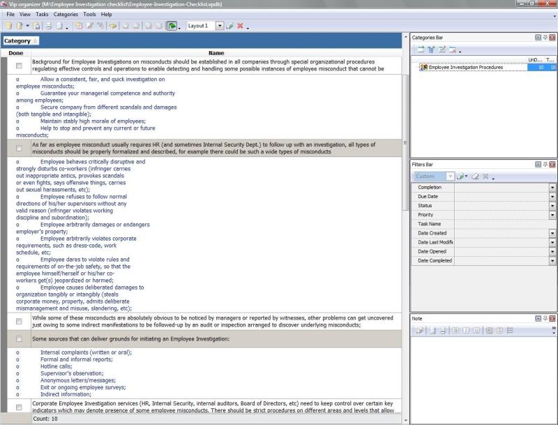 Employee Investigation Checklist - To Do List, Organizer