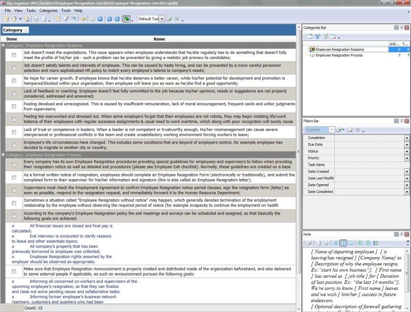 Employee Resignation Checklist - To Do List, Organizer, Checklist