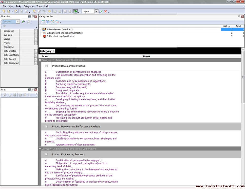 Process Qualification Checklist - To Do List, Organizer