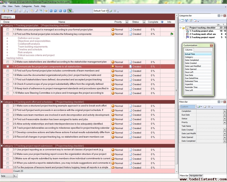 Project tracking checklist to do list organizer for Project deliverable template