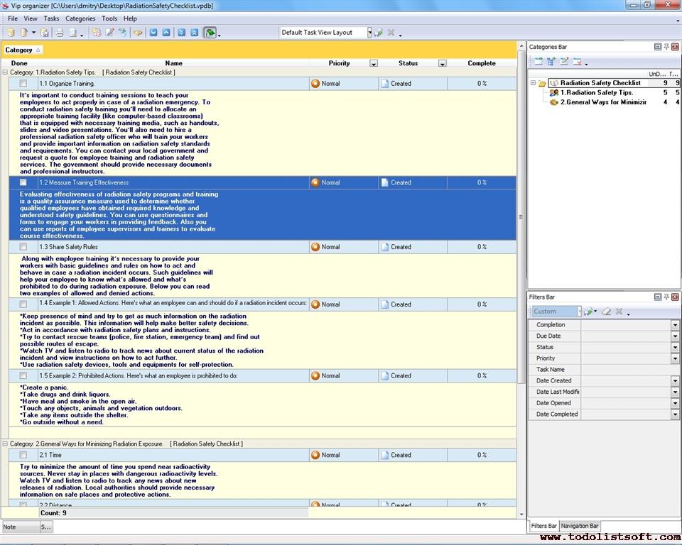Radiation Safety Checklist - To Do List, Organizer, Checklist, PIM ...