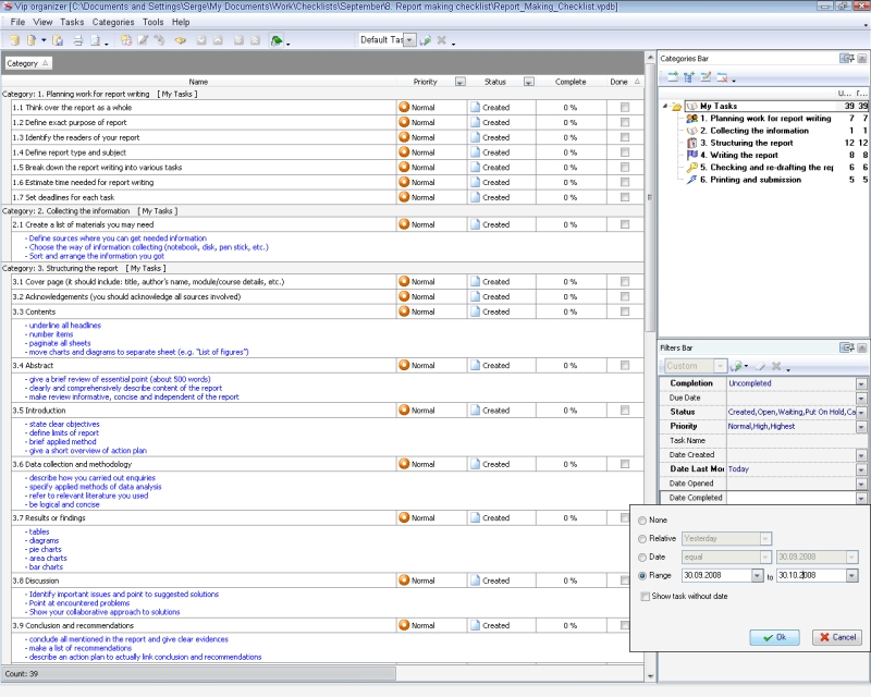 Report making checklist - To Do List, Organizer, Checklist, PIM ...