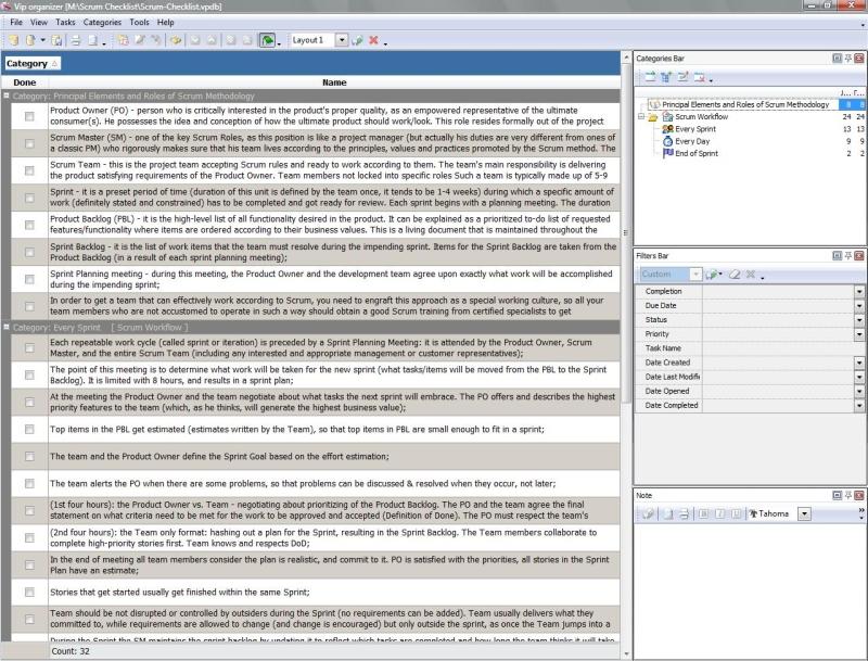 Scrum Checklist - To Do List, Organizer, Checklist, PIM, Time and ...