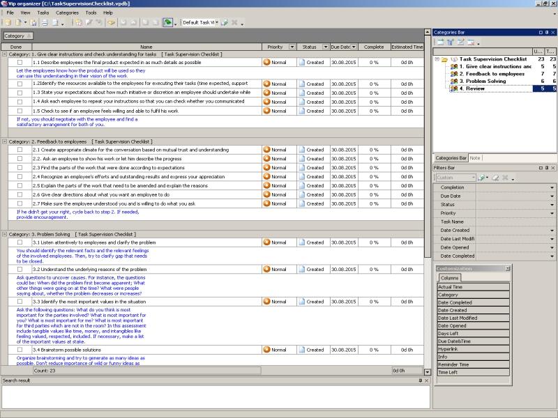 Task Supervision Checklist To Do List Organizer Checklist PIM – Employee Task List
